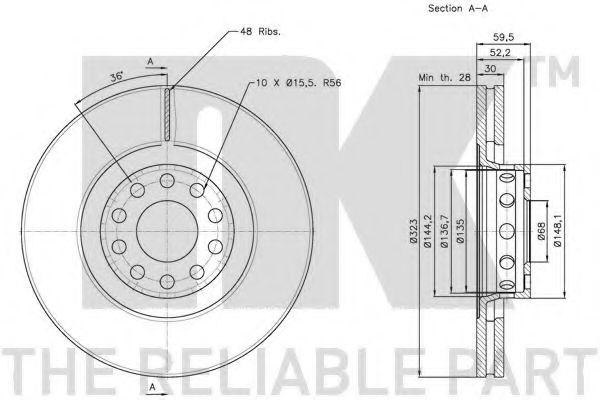 Диск гальмівний передній NK 204791