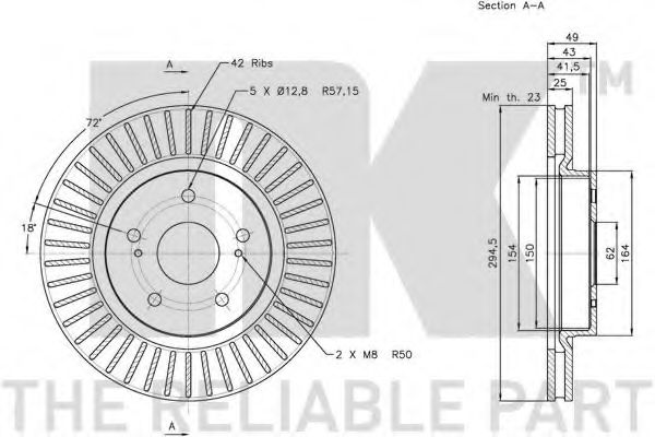 Диск гальмівний NK 205216