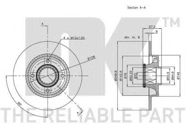 Диск гальмівний задній (з підшипником) PSA C4/307 2004- (Coated discs) NK 311947