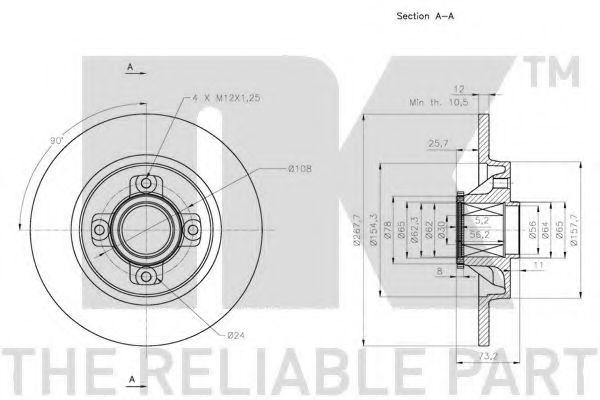 Диск гальмівний задній (з підшипником) PSA/C4/Berlingo/Partner/5008/3008/308 2009- (Coated discs) NK 311951
