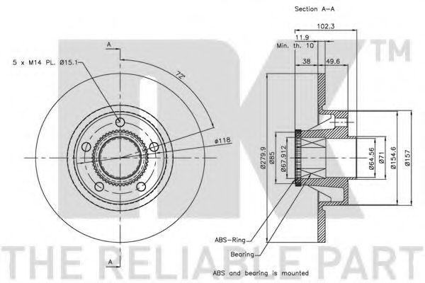 (Coated) Диск гальмівний задній (з підшипником) Opel Vivaro/Renault Trafic 01- NK 313658