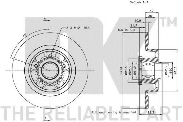 (Coated) Диск гальмівний задній (з підшипником) Renault Grand Scenic II 06->  NK 313963
