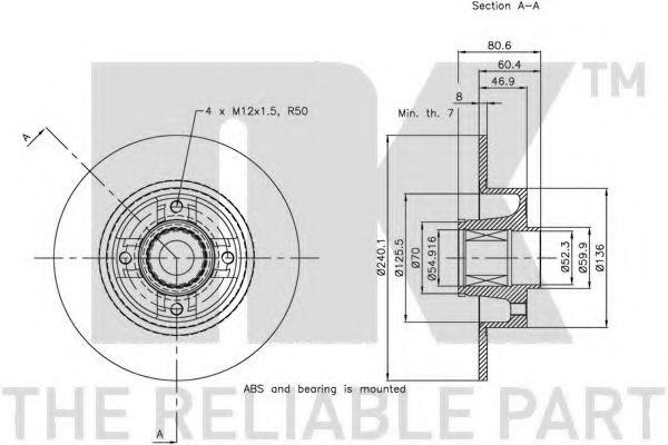 (Coated) Диск гальмівний задній (з підшипником) Renault Clio 08-/Megane II/Modus 11.02-  NK 313964
