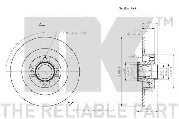 (Coated) Диск гальмівний задній (з підшипником) Renault Megane/Scenic 1.5 Dci, 1.9Dci 05- (+ABS)  NK 313965