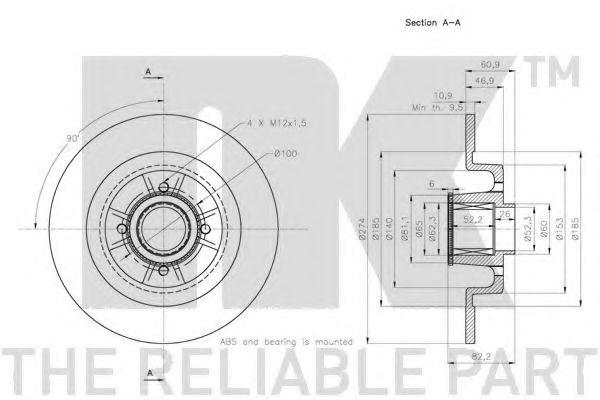 (Coated) Диск гальмівний задній (з підшипником)Renault Scenic/Grand Scenic 2004- 274mm +ABS NK 313967
