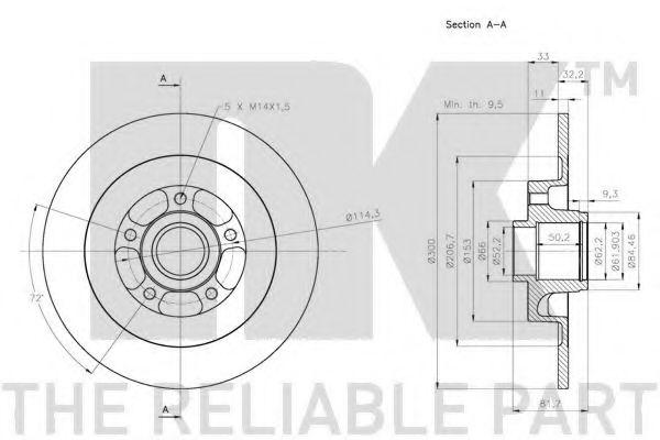 (Coated) Диск гальмівний задній (з підшипником) Renault Laguna III 2007- NK 313972