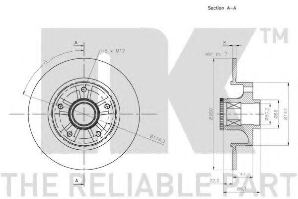 (Coated) Диск гальмівний задній (з підшипником) 260x86,2 Renault Fluence, Megane III, CC, 08- NK 313973