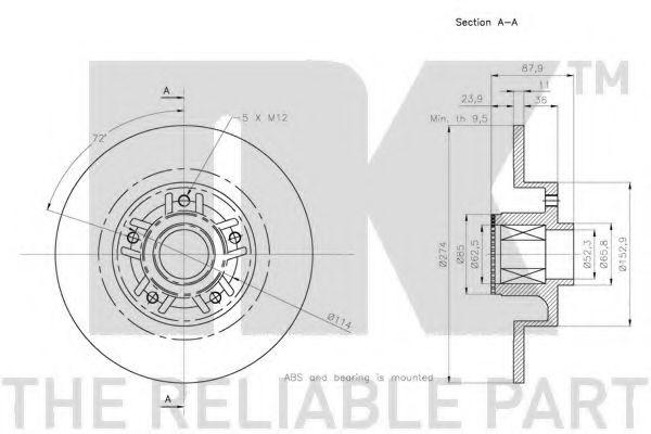 (Coated) Диск гальмівний задній (з підшипником) Renault Fluence/Scenic III/Grand Scenic III 1.5dCi 09- NK 313991
