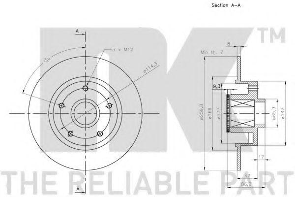 Диск гальмівний задній (з підшипником) Renault Megane III 1.5dCi/1.9dCi 10- NK 313993