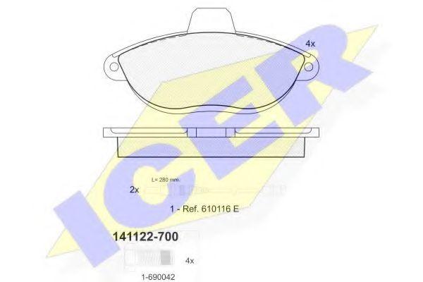Колодки тормозные (передние) Fiat Scudo/Peugeot Expert 96- (Bendix)/(с датчиками)  арт. 141122700