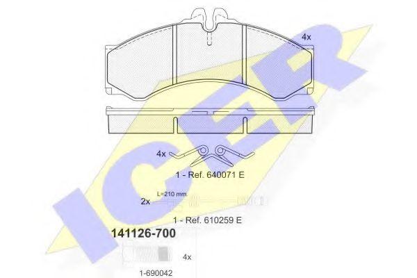 Тормозные колодки дисковые ICER 141126700
