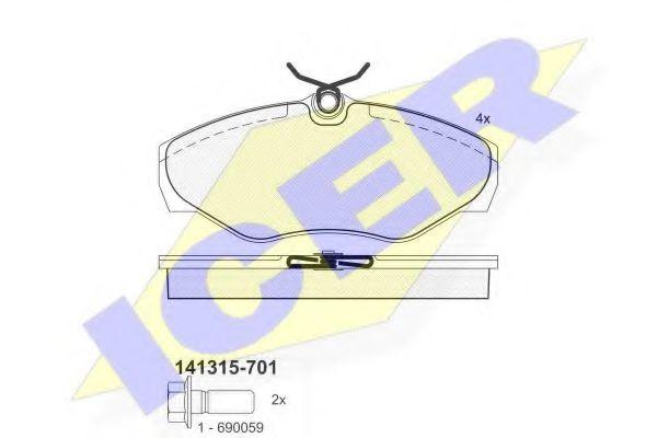 Тормозные колодки дисковые ICER 141315701
