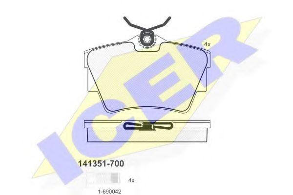 Тормозные колодки дисковые ICER 141351700