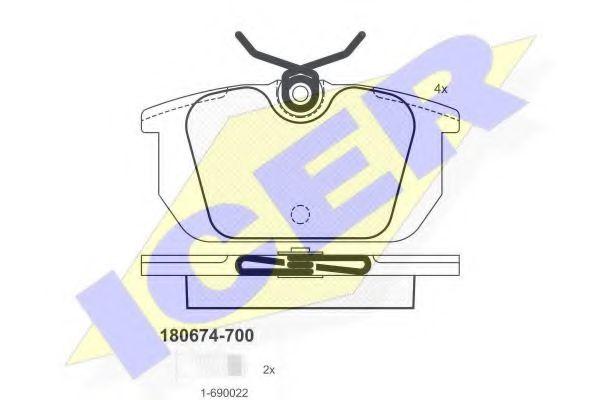 Комплект тормозных колодок, дисковый тормоз  арт. 180674700