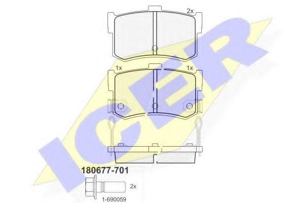 Комплект тормозных колодок, дисковый тормоз  арт. 180677701