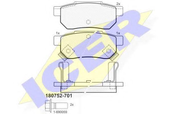Комплект тормозных колодок, дисковый тормоз  арт. 180752701