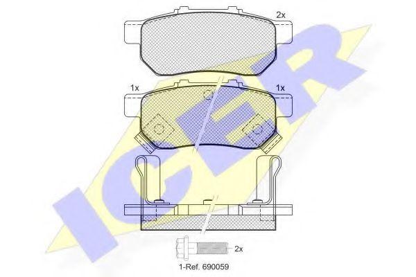 Комплект тормозных колодок, дисковый тормоз  арт. 181024