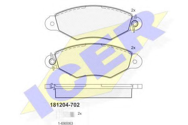 Тормозные колодки дисковые ICER 181204702