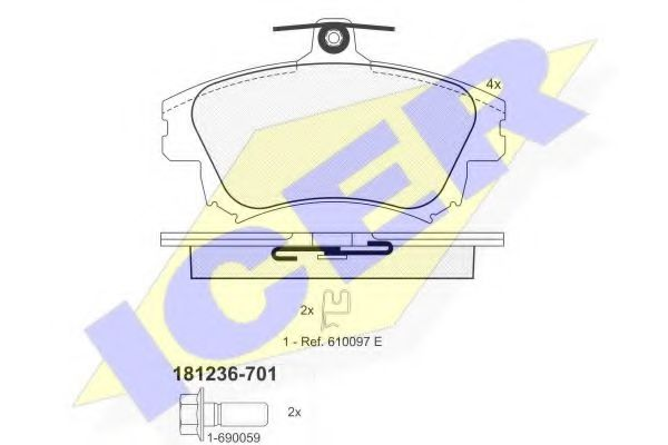 Тормозные колодки дисковые ICER 181236701