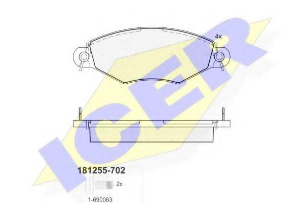 Тормозные колодки дисковые ICER 181255702