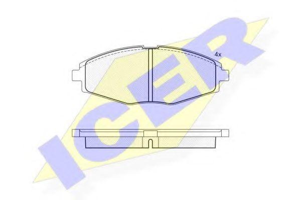 Колодки тормозные (передние) Daewoo Lanos 97-/Matiz 98- (Akebono)  арт. 181262