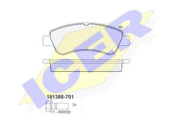 Тормозные колодки дисковые ICER 181388701
