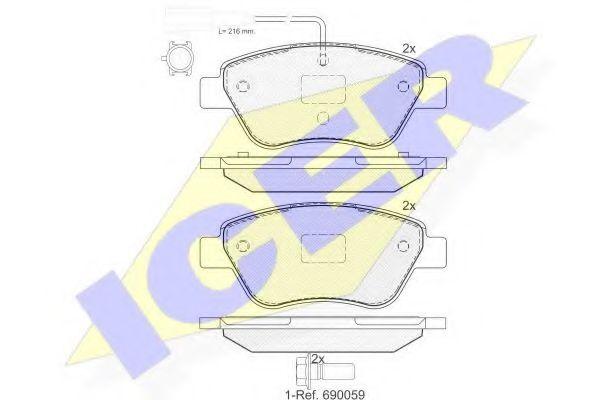 Колодки тормозные (передние) Citroen Nemo/Peugeot Bipper 08- 1.3/1.4HDi (Bosch)/(с датчиками)  арт. 181444203