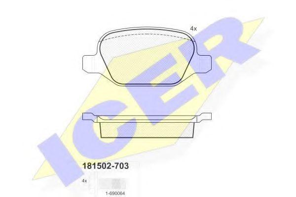 Комплект тормозных колодок, дисковый тормоз  арт. 181502703
