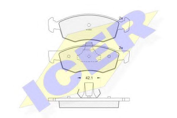 Колодки тормозные (передние) Fiat Doblo 01-05 (Ate - Teves)  арт. 181508