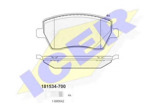 Тормозные колодки дисковые ICER 181534700