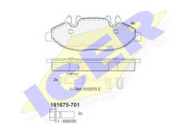 Тормозные колодки дисковые ICER 181675701