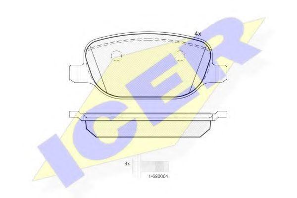 Комплект тормозных колодок, дисковый тормоз  арт. 181780