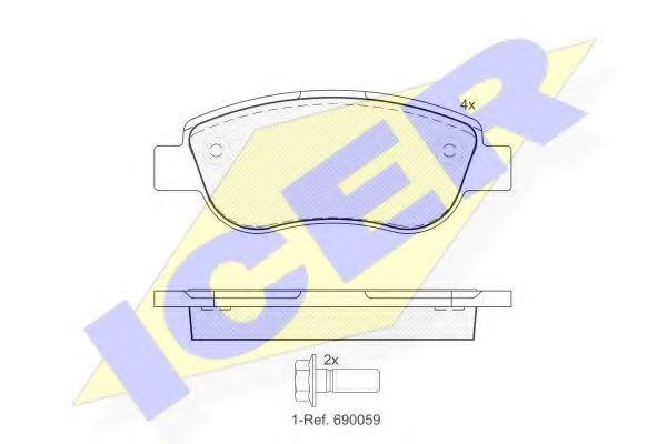 Комплект тормозных колодок, дисковый тормоз  арт. 181883