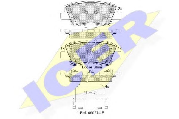 Колодки тормозные (задние) Kia Ceed II/Rio III 1.1-1.6 10- (Akebono)  арт. 182036