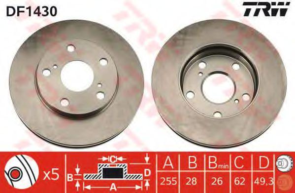 Диск гальмівний передній Toyota Camry / Picnic 91-01 TRW DF1430