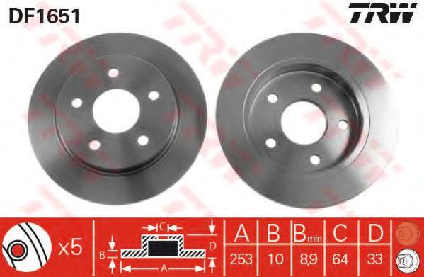 Диск тормозной FORD SCORPIO задн. (пр-во TRW)                                                         арт. DF1651