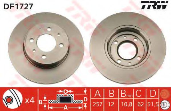 Диск тормозной FIAT, LANCIA, передн. (пр-во TRW)                                                      арт. DF1727