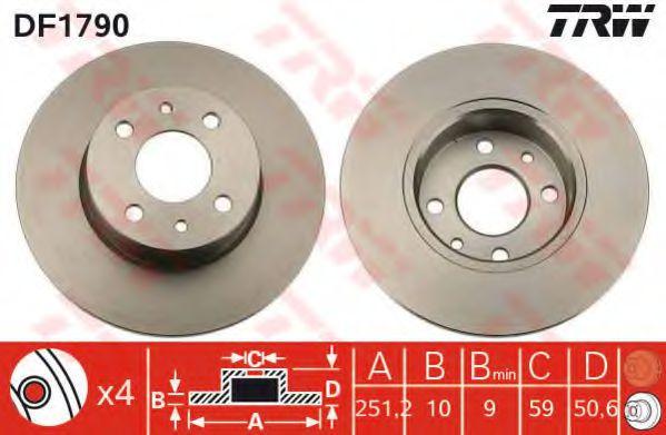 Диск тормозной FIAT LINEA, ALFA ROMEO 164 (пр-во TRW)                                                 арт. DF1790