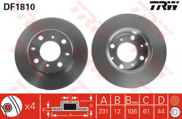 Тормозной диск  арт. DF1810
