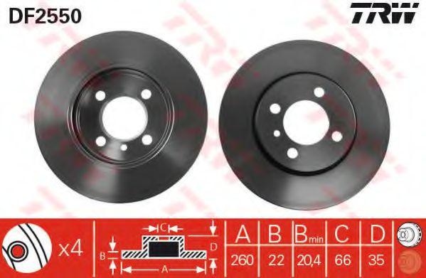 Диск тормозной BMW 3 передн., вент. (пр-во TRW)                                                      TEXTAR арт. DF2550