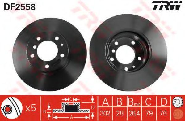 DF2558  TRW - Гальмівний диск  арт. DF2558