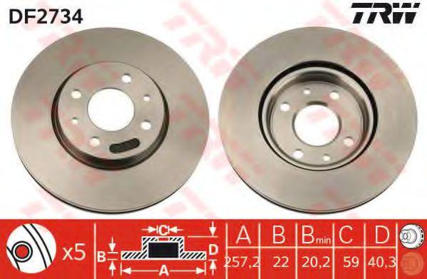 Диск тормозной FIAT LINEA, PUNTO передн., вент. (пр-во TRW)                                           арт. DF2734