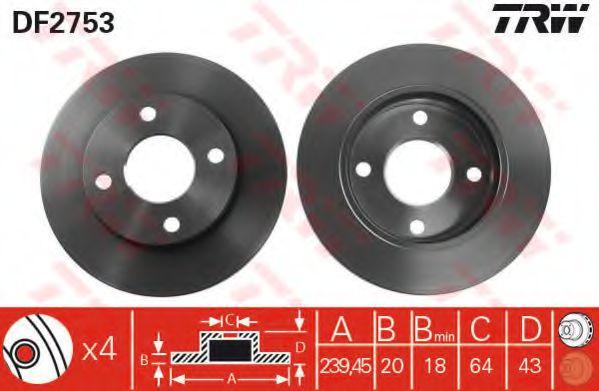 DF2753  TRW - Гальмівний диск  арт. DF2753