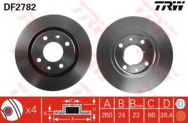 Тормозной диск TRW DF2782