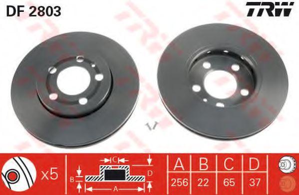 Диск тормозной AUDI A3, SEAT CORDOBA, IBIZA, SKODA,VW, передн., вент. (пр-во TRW)                    TRW DF2803