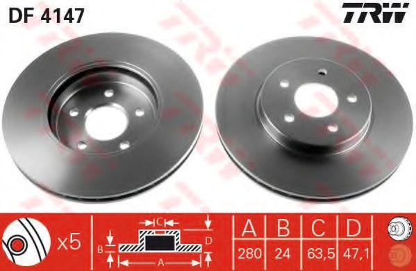 DF4147  TRW - Гальмівний диск  арт. DF4147