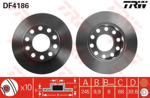 Диск тормозной AUDI A4  00-08 TY MINTEX арт. DF4186