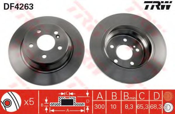 Диск гальмівний зад. MB W211 2.0/2.4/2.2CDI/2.7CDI 02- (300x10) TRW DF4263