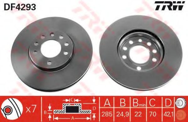 Диск тормозной FIAT, OPEL, SAAB, передн., вент. (пр-во TRW)                                           арт. DF4293