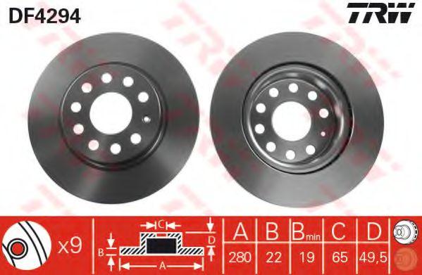 Тормозной диск TRW DF4294